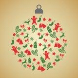 De kaart van de Kerstmisgroet met Kerstmisbal met groene en rode kleine decoratiepictogrammen op gradiëntachtergrond royalty-vrije illustratie