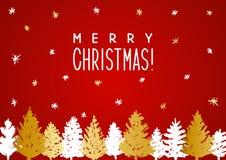De kaart van de Kerstmisgroet met Kerstmisbomen Stock Foto's