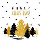 De kaart van de Kerstmisgroet met Kerstmisbomen Stock Fotografie