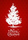 De kaart van de Kerstmisgroet met Kerstmisboom Stock Afbeeldingen