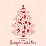 De kaart van de Kerstmisgroet met Kerstmiselementen en ruimte voor tekst Royalty-vrije Stock Afbeeldingen