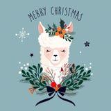 De kaart van de Kerstmisgroet met leuke lama en seizoengebonden bloemenboeket stock afbeeldingen
