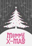 De kaart van de Kerstmisgroet met leuke vlakke de kleurenstijl van de Kerstmisboom Stock Fotografie