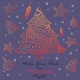 De Kaart van de Kerstmisgroet met Ornated-Spar stock illustratie