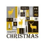 De kaart van de Kerstmisgroet met silhouetten van gouden rendier Stock Fotografie