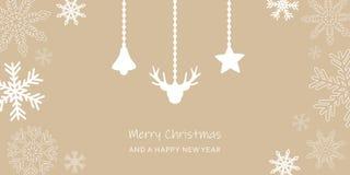 De kaart van de Kerstmisgroet met sneeuwvlokgrens en rendierdecoratie royalty-vrije illustratie