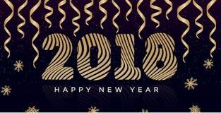 De kaart van de Kerstmisgroet met teken 2018 gelukkig nieuw jaar en lint gouden stijl Stock Foto