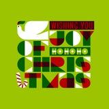 De kaart van de Kerstmisgroet met de vredes het van letters voorzien en duif van de vreugdeliefde Royalty-vrije Stock Foto