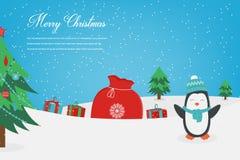 De kaart van de Kerstmisgroet met Vrolijke Kerstmiswensen Vector Royalty-vrije Stock Fotografie