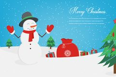De kaart van de Kerstmisgroet met Vrolijke Kerstmiswensen Vector Stock Fotografie