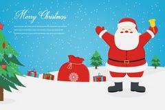 De kaart van de Kerstmisgroet met Vrolijke Kerstmiswensen Vector Royalty-vrije Stock Foto