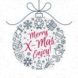 De kaart van de Kerstmisgroet met Vrolijke X mas van het bal bestaande teken en royalty-vrije illustratie