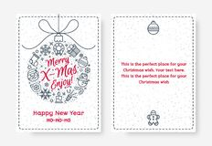 De kaart van de Kerstmisgroet met Vrolijke X dat mas van het bal bestaande teken wordt geplaatst geniet van Stock Foto