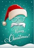 De kaart van de Kerstmisgroet met wit silhouet van de hoed van de Kerstman, glazen, baard en felicitatieteksten vector illustratie