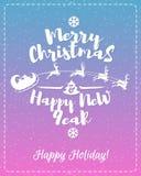 De kaart van de Kerstmisgroet met witte Vrolijke Kerstmis van het etiket bestaande teken geniet van en Gelukkig Nieuwjaar vector illustratie