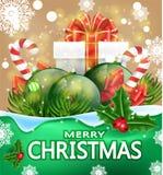 De kaart van de Kerstmisgroet met woorden Vrolijke Kerstmis Vectorbanner met giftdozen, suikergoed, ballen, takken van sparren Royalty-vrije Stock Afbeeldingen