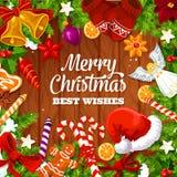 De kaart van de Kerstmisgroet, wensen en giftenontwerp royalty-vrije illustratie