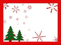 De kaart van Kerstmisstylization in rood kader met sneeuwvlokken en Kerstbomen op witte achtergrond, vlak ontwerp, vector royalty-vrije illustratie