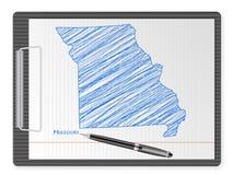 De kaart van klembordmissouri vector illustratie