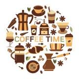 De Kaart van de koffietijd in Vlak Ontwerp Stock Foto