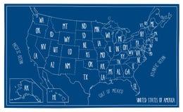 De Kaart van de krabbelblauwdruk van Noord-Amerika stock illustratie