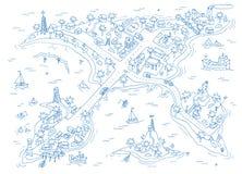 De kaart van krabbeleilanden Royalty-vrije Stock Afbeelding