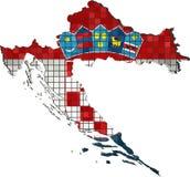 De kaart van Kroatië met binnen vlag stock illustratie