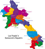 De kaart van Laos Stock Afbeeldingen