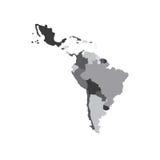 De Kaart van Latijns Amerika stock illustratie