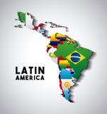 De Kaart van Latijns Amerika royalty-vrije illustratie