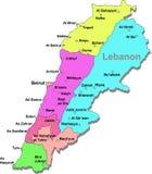 De kaart van Libanon royalty-vrije illustratie