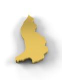De kaart van Liechtenstein 3D in gouden en met inbegrip van het knippen van weg Royalty-vrije Stock Fotografie