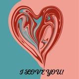 De kaart van de liefdegroet met het heldere gevormde hart van de tonenabstractie stock illustratie