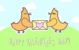 De kaart van liefdevogels voor St Valentine& x27; s Dag Vogels met harten kinderachtige affiche Stock Fotografie