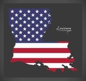 De kaart van Louisiane met Amerikaanse nationale vlagillustratie Stock Fotografie