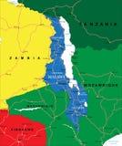 De kaart van Malawi Stock Foto