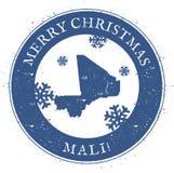 De kaart van Mali Uitstekende Vrolijke Kerstmis Mali Stamp Royalty-vrije Stock Afbeeldingen