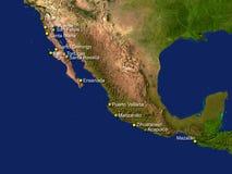 De kaart van Mexico Stock Foto