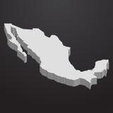 De kaart van Mexico in grijs op een zwarte 3d achtergrond stock illustratie
