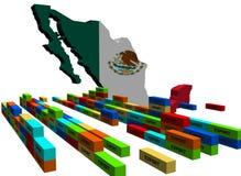 De kaart van Mexico met de uitvoercontainers Royalty-vrije Stock Foto