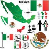De kaart van Mexico met gebieden Stock Afbeeldingen