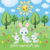 De kaart van de moedersdag met konijn royalty-vrije illustratie
