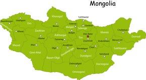 De kaart van Mongolië Royalty-vrije Stock Afbeeldingen