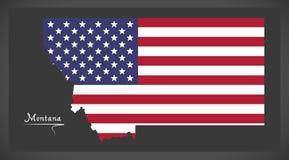 De kaart van Montana met Amerikaanse nationale vlagillustratie Royalty-vrije Stock Afbeelding