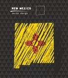 De kaart van New Mexico met vlag binnen op de zwarte achtergrond De vectorillustratie van de krijtschets royalty-vrije illustratie