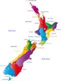 De kaart van Nieuw Zeeland Stock Afbeelding