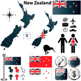 De kaart van Nieuw Zeeland Stock Foto