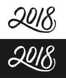 De kaart van de nieuwjaar 2018 groet in zwart-wit Stock Foto