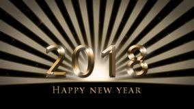 2018 de kaart van de nieuwjaar` s vooravond, illustratie met fonkeling, gouden Gelukkige Nieuwjaartekst vector illustratie