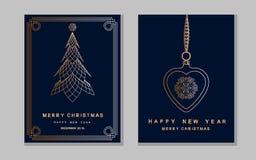 De kaart van de nieuwjaargroet met abstracte Kerstmisboom en snowflak Royalty-vrije Stock Fotografie